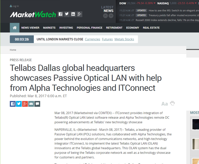 Tellabs Dallas showcases Passive Optical LAN